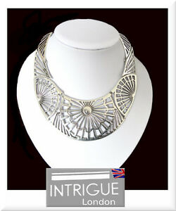 Collana XL Collier Collana Statement Metallo Rodiato Intrigue London Filigrana