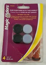 "Magic Sliders Plastic Floor Slide Self Gripping Gray Round 1"" Diameter 4 Qty New"