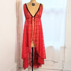 Vintage FREDERICK'S OF HOLLYWOOD Red Striped Slip Gown with Black Lace Trim (L)