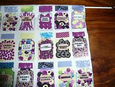 "Novelty purple sweet, candy jars cotton cupboard curtain 35"" x 42"" free post"