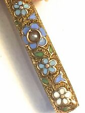 Antique Bar Brooch Art Nouveau Victorian Guilloche C Clasp Gold Fill Pearl Pin