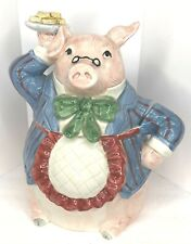 "Rare 1987 Fitz & Floyd ""Bacon and Eggs� Discontinued Cookie Jar Chef Pig Japan"