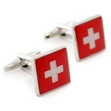 One Pair Silver Plated Novelty Cufflinks Swizerland Flag & Gift Velvet Pouch01A1