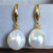 HUGE 12-10mm South Sea White Baroque Pearl Earrings 14K YELLOW GOLD REAL  Beads