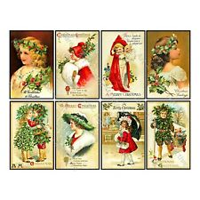 CHRISTMAS STICKERS, 8 Holiday Postcard Style Sticker REPRODUCTIONS, Gift Tags