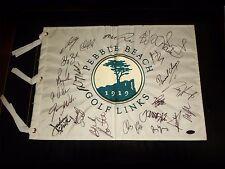 2015 Pebble Beach Golf Links Flag Signed by 22 Jordan Spieth, Phil Mickelson Coa