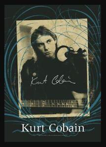 Kurt Cobain Signature Sépia Photo 'Large Textile Drapeau 1100mm x 750mm (Hr )