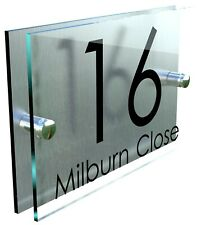 b09cefb5f59 Contemporary HOUSE SIGN   PLAQUE   DOOR   NUMBER   GLASS EFFECT ACRYLIC