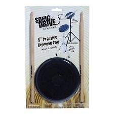 """NEW Sonic Drive 8"""" Rebound Drum Practise Pad Sticks Set for Beginners"""