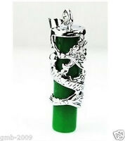 Imperial Inlay Natural Green Carved Dragon Totem Column Silver AMULET Pendant