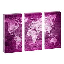 Weltkarte Pink- Kunstdruck auf Leinwand Wandbild Bild dreiteilig -je 40 cm*80 cm