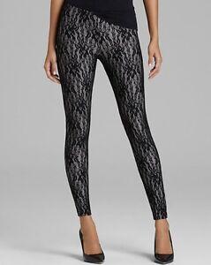 HUE U14329 Black w/Metal Stretch Lace Skinny Leggings - MSRP $44
