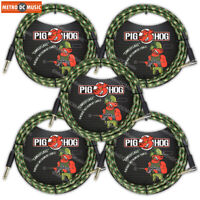 "5-Pack Pig Hog 1/4"" Camouflage Guitar Instrument Cable Cord 10ft Right-Angle"