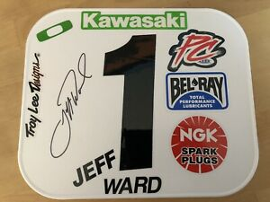 JEFF WARD TEAM KAWASAKI AUTOGRAPHED NUMBER PLATE SUPERCROSS MOTOCROSS OAKLEY