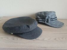2 Peaky Blinder newsboy bakers boy gatsby herringbone flat cap, peaked hat, grey