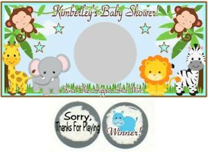 10 Jungle Safari Animals Birthday Party OR Baby Shower Scratch Off Game Cards