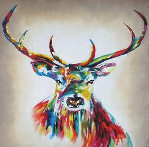 Painting Art stag deer moose Print Canvas framed  Street rainbow