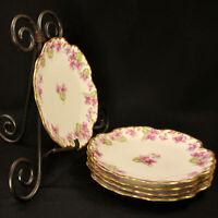 """Limoges Elite Bawo Dotter 7"""" Set 5 Dessert Plates Purple Violets GOLD 1900-1932"""