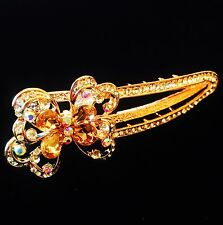USA Seller Hair Clip Claw Rhinestone Crystal Hairpin  Bowknot Gold Brown