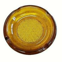 "Vtg Amber Glass Ashtray Round Heavy Mid Century Modern 5 3/4""  4 cigarette slots"