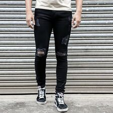 Men's Skinny Jeans Biker Destroyed Frayed Slim Fit Denim Ripped Pants Trousers
