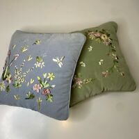set of throw pillows velvet green blue ribbon embroidered French country cottage