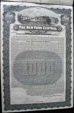 NY CENTRAL RAILROAD CO. $1,000 VERTICAL FORMAT 1913 COUPON GOLD BOND!