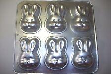"1992 Wilton individual bunny cake pan makes 6 each 4 1/2"" x 3"" x 1 1/4"""