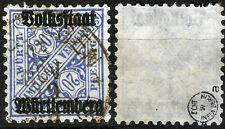 Württemberg 264 a, O, 20 Pf. Aufdruck Volksstaat, gepr. Infla