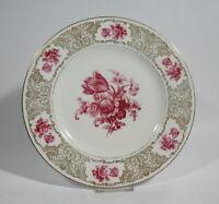 Schumann Porzellan Platte Tortenplatte Teller rote Blumen Golddekor