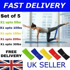 5pc Set Resistance Bands Loop Set Sports Fitness Yoga Exercise Workout Gym Band