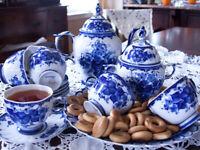 Gzhel Porcelain 15-pc Tea Set Liza Pattern Tea Service Authentic Original Russia
