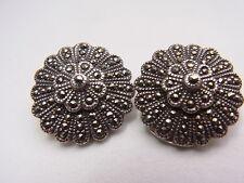 Silberohrclip Ohrclip Clip Filigran Blume Markasit  925 Silber Ohrring Nr.97