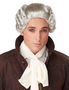 18th Century Peruke Grey Judge Colonial Men Costume Wig