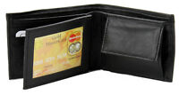 New Mens Bifold Genuine Leather Wallet Black Coin Pocket Credit Card Id Window