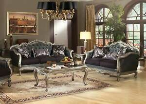 Traditional Design Living Room Couch Set - NEW Silver Gray Fabric Sofa Loveseat