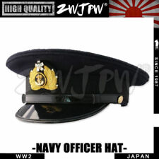 Replica WW2 Japan Army Caps Black Large Brimmed Hats Woolen Navy Officer