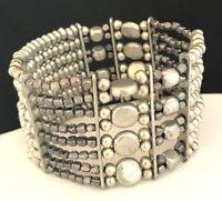 Designer Statement Bracelet Silver Stretch Design Premier Urban Chic 13P