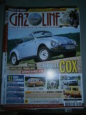 Revue automobile Gazoline Coccinelle cabriolet Renault 4l GTL Dauphine A110 ect