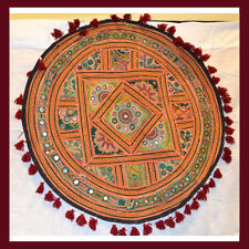 Antique Hand Embroidered Mirror work Wall Tapestry, Table Cover, Wall Art India