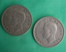 Both 1947 and 1949 Half Crown Great Britain George VI English UK 2 Coin Lot YG