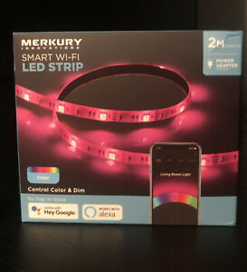 Merkury Innovations Smart LED Strip Lights, 6.5ft ,works With Hey Google & Alexa