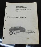 New Holland Hayliner Baler 316 Assembly Information Owner's Operator's Manual