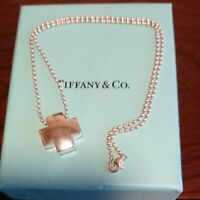 Tiffany & Co. Roman Cross Pendant Necklace Silver 925 Used