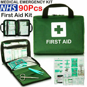 90 PIECE FIRST AID KIT BAG MEDICAL EMERGENCY KIT TRAVEL HOME CAR TAXI WORKPLACE