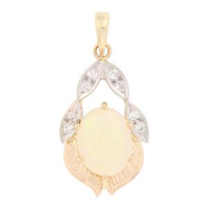 1.87ctw Oval Cabochon Cut Opal & Diamond Pendant - 14k Yellow Gold