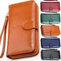 Women's Clutch Leather Wallet Long Card Holder Phone Zip Bag Case Purse Handbag