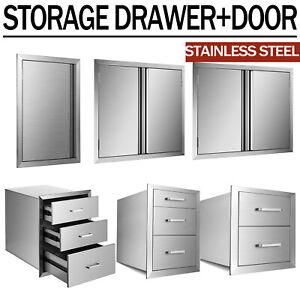 31'' Stainless Steel BBQ Outdoor Kitchen Island Double Single Door Access Drawer