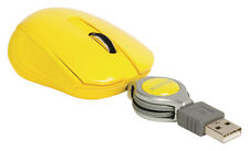 USB Retractable Scroll Pocket Mouse Mice For Laptop PC Notebook Portable Yellow