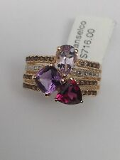 10K Yellow Gold Multi Gemstone Amethyst Smoky Topaz and Diamond Ring Size 7